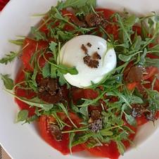 Tomate burratina supplément truffe La Ciboulette - restaurant avec vue panoramique à Gassin - https://gassin.eu